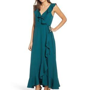Green/Teal Ruffled Wrap Dress NWT